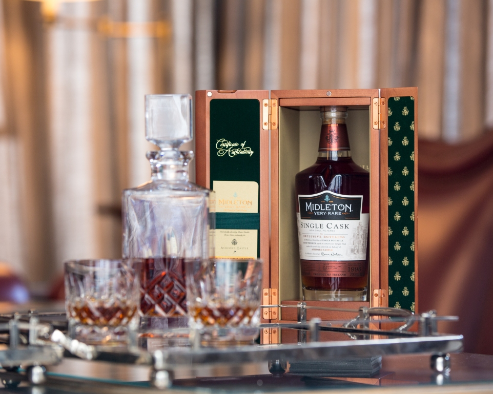 Ashford Castle Exclusive Cask Very Rare Single Pot Still Whiskey €950 per bottle & two Waterford Crystal Tumblers 3