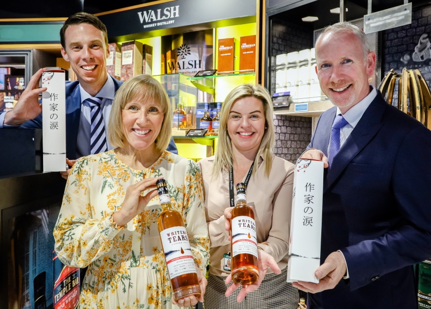 Pictured at the launch of Writers' Tears Copper Pot Japanese Cask Finish are Brian Hogan (Commercial Manager (Travel Retail) – Walsh Whiskey); Tracey Jordan (ARI Liquor Buyer at The Loop); Lena Canning (Brand Ambassador, Walsh Whiskey) and Bernard Walsh (Co-founder & Managing Director, Walsh Whiskey)